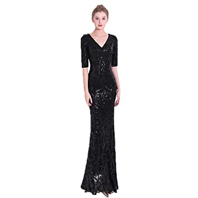 76f89319f2d Luxurybox Mermaid V-Neck 1 2 Sleeve Floor-Length with Sequined for ...
