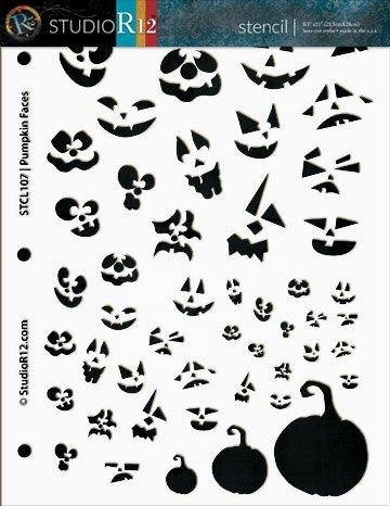 Pumpkin Patch Faces Stencil