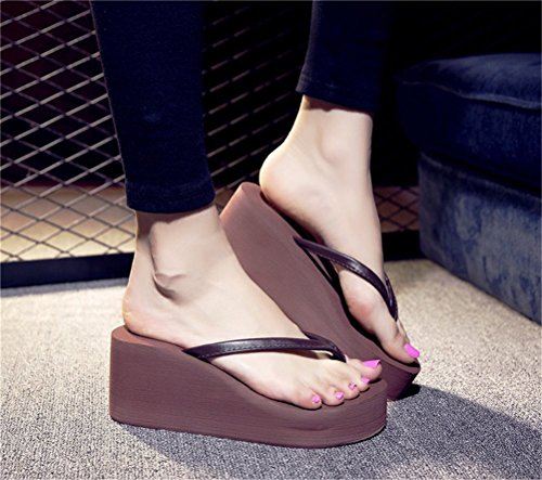 Womens Platform High Heel Wedges Sandals Thong Slippers Brown kqxNQU