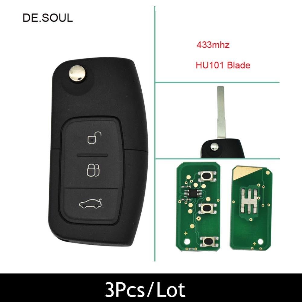 DE.SOUL DE. SOUL 3PCS/ Lot 3 Button Keyless Entry Remote Key Fob For Ford Focus Mondeo C Max S Max Galaxy Fiesta No Chip