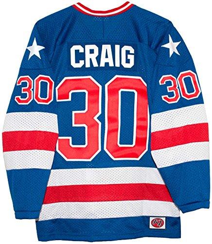 USA Miracle on Ice 1980 Jim Craig Blue Hockey Jersey (Medium)