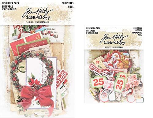Tim Holtz Idea-Ology 2019 Christmas Ephemera Pack & Christmas Snippets Pack - 2 Items (Christmas Griffin Anna)