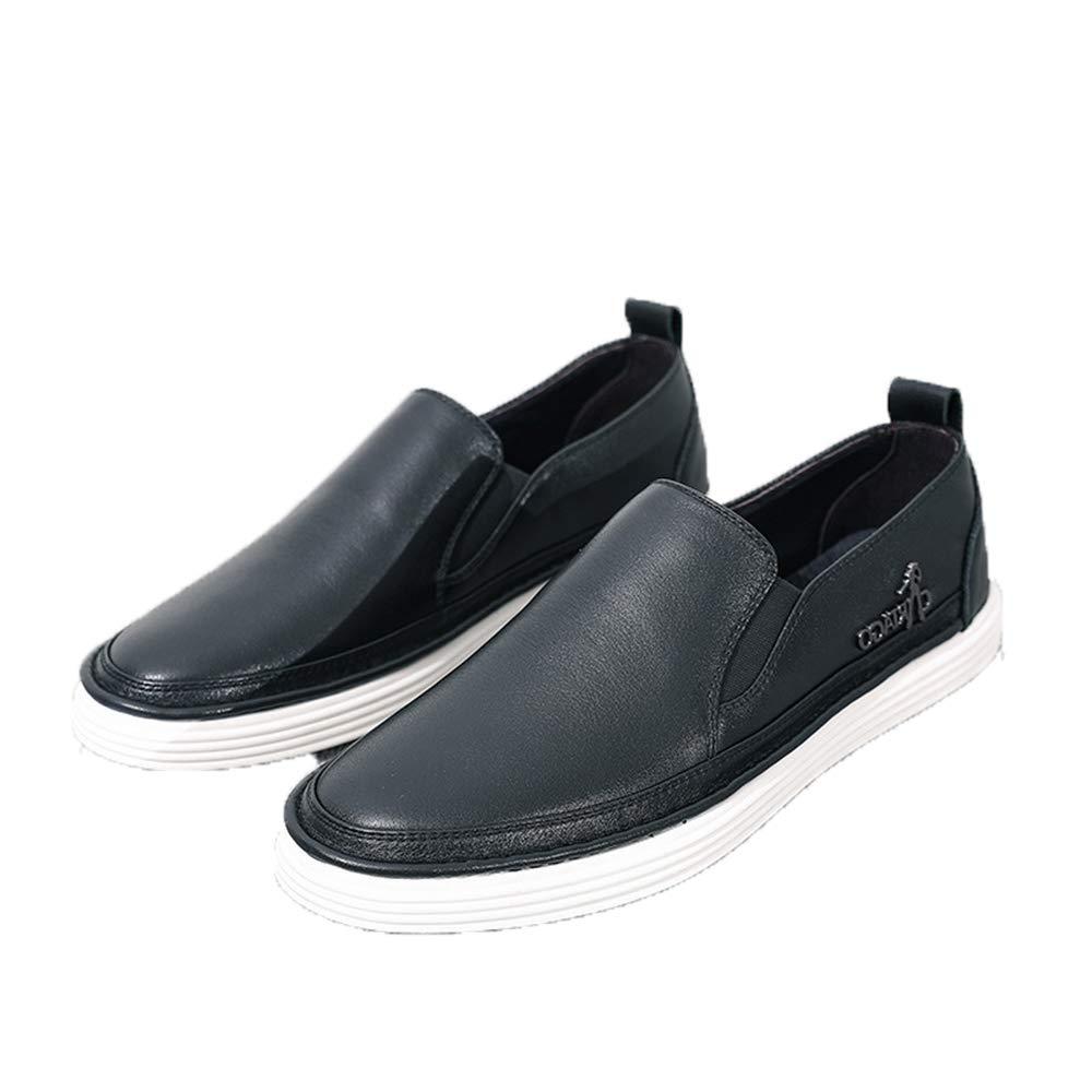 Qiusa Echtes Leder Slip auf Loafers für beiläufige Männer weiche Sohle beiläufige für Breathable Durable Schuhe (Farbe : Schwarz, Größe : EU 40) Schwarz 579c0c
