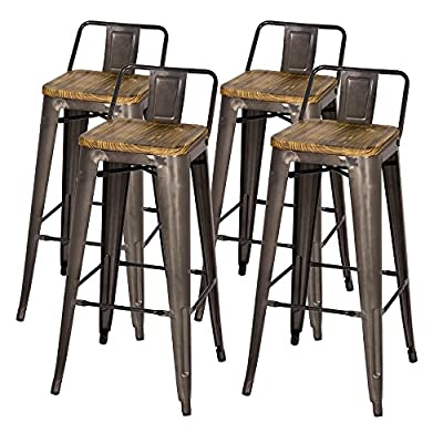 Metropolis Metal Low Back Bar Stool