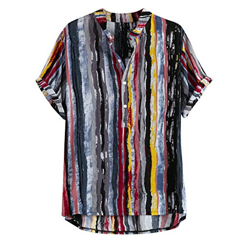 haoricu Men's Summer V Neck Shirts Casual Short Sleeves Color Block Stripes Print Button Up Loose Shirts Blouse (Black, L)