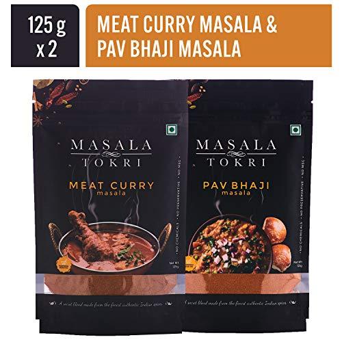 Masala Tokri (Mumbai) Meat Curry Masala & Pav Bhaji Masala, 100% Natural, Fresh and Homemade, Authentic Indian Spice Powder, No Preservatives - 125 grams each packet