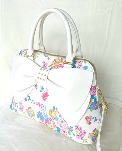 Of Women's Satchel Bow Pearl Johnson Betsey Girl White A Dome Floral a1qZxnwFI5