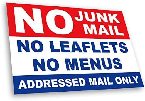 No Junk Mail Letterbox Sticker 19cm x 3cm Stop Leaflets and Menus Door Premium UV Laminated
