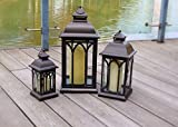Pebble Lane Living Indoor/Outdoor Lombard Candle Lanterns, Powder Coated Steel Frame & Tempered Glass Panes, Brown, Assorted Set of 3