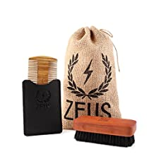 Zeus Sandalwood Comb and Pear Wood Brush Set - Grooming Tool Set for Men!
