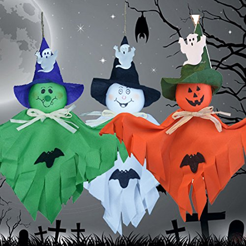 Party Decoration Hanging Ghost Windsock , Spook Pumpkin Fly Witch Scarecrow Doll for Front Yard Patio Lawn Garden Party Decor and Holiday Decorations Themed - 3 Pack (Adult Elegant Coffin)