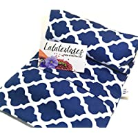 """Lavender Scented Large Microwave Heating Pad, The """"Flax Sak"""" Hot/Cold Pack With Washable Cover. Navy Moroccan."""