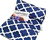Unscented Large Microwavable Heating Pad, The 'Flax Sak' Hot/Cold Pack With Washable Cover. Natural pain relief. Navy Moroccan