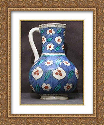 - Islamic Art - 20x24 Gold Ornate Frame and Double Matted Museum Art Print - Blue-Ground Ewer with Floral, Tiger-Stripe and 'Cintamani' Designs
