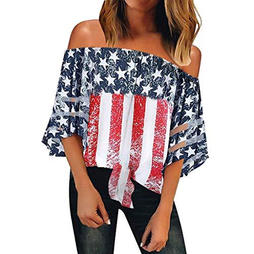 Keepmove Women's 3/4 Bell Sleeve Top Shirt American Flag Off Shoulder Mesh Panel Blouse(Red,Medium)