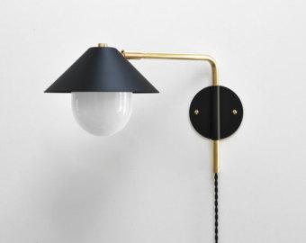 Modern Industrial Brass Swing Arm Sconce 14 20 by PhotonicStudio