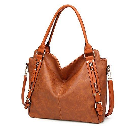Women Leather Tote Purse Large Top Handle Handbag Crossbody Shoulder Bag for Ladies Brown