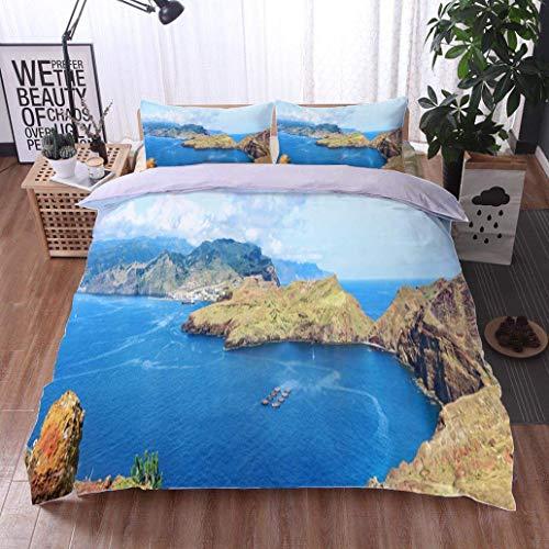 - VROSELV-HOME Style 3D Digital Print Bedding Sets,Hiking in Madeira,Soft,Breathable,Hypoallergenic,100% Cotton Beding Linens for Kids Children