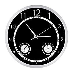 Egundo Silent Wall Clocks 12 Inches Accurate Non Ticking Quartz Movement with Temperature & Humidity Battery Operated Metal Decorative Vintage Analog Clock for Living Room Garage (Black)