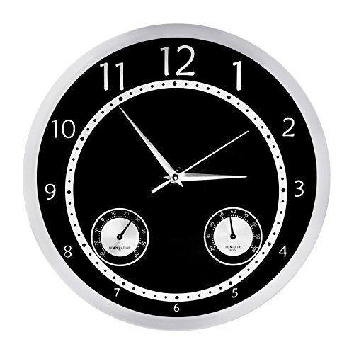 Egundo 12 Inch Metal Silent Wall Clock,Non Ticking Quartz Mo