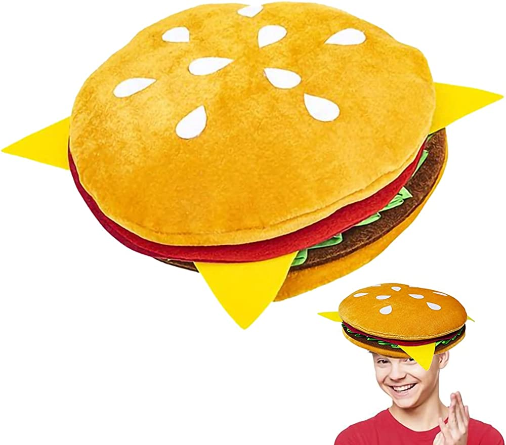 ArtCreativity Funny Hamburger Hat, 1 PC, Fun Fast Food Hamburger Hat, Soft Plush Costume Accessory Hat, Pizza Party Supplies Decorations, One Size Fits Most, Crazy Silly Hat for Halloween