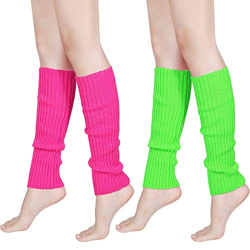80s Women Knit Leg Warmers Ribbed Leg Warmers for Party Accessories (Rose Red, Fluorescent Green, ()