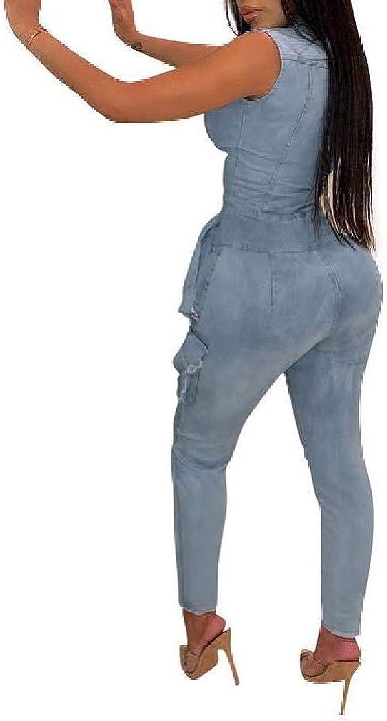 Winwinus Women Nightclub Style Overall Washed Zip Up Sleeveless Jumpsuit