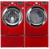 """LG PAIR SPECIAL-""""WILD CHERRY RED"""" Ultra Large Capacity Steam Laundry System with Matching Pedestals, and ELECTRIC Dryer(WM3370HRA_DLEX3370R_WDP4R X 2)"""