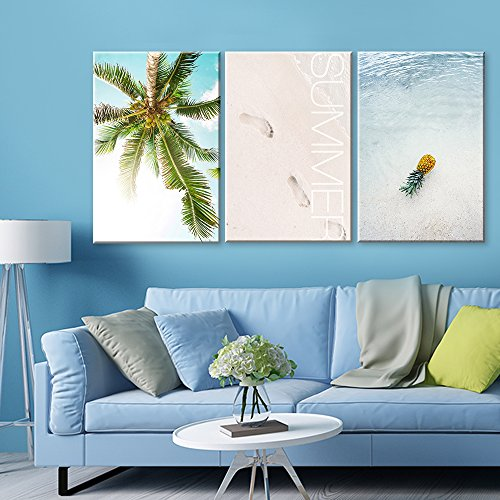 3 Panel Palm Tree and Tropical Beach in Summer Gallery x 3 Panels