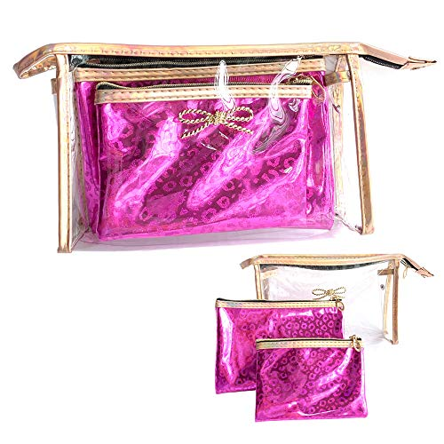 3-in-1 Portable Cosmetic Bag Travel Or Daily Transparent Cosmetic Bag (Leopard grain pink)