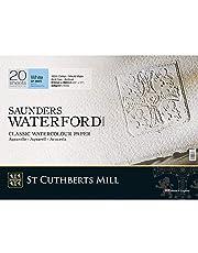 Saunders Waterford 300 g/m² Grão Fino Branco Natural Bloco 510x360 20 Folhas.