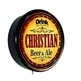 CHRISTIAN Beer and Ale Cerveza Lighted Wall Sign