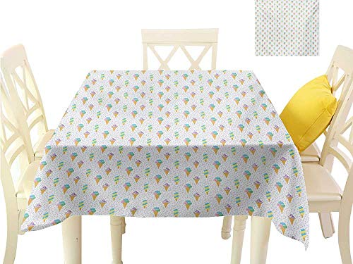 Angoueleven Table Covers Ice Cream,Summer Ice Dessert Collection with Waffle Cones and Sundae Dairy Refreshment,Multicolor Printing Tablecloth Custom W 54