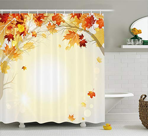 (Ambesonne Fall Shower Curtain, Soft Image of Faded Shedding Fall Leaves from Tree Motion in Nature Concept Print, Cloth Fabric Bathroom Decor Set with Hooks, 75