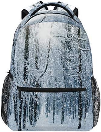 Vinlin Backpack Winter Tree Forest Landscape,College School Shoulder Bag Travel Hiking Casual Daypack for Kids Girls Boys Woman Man