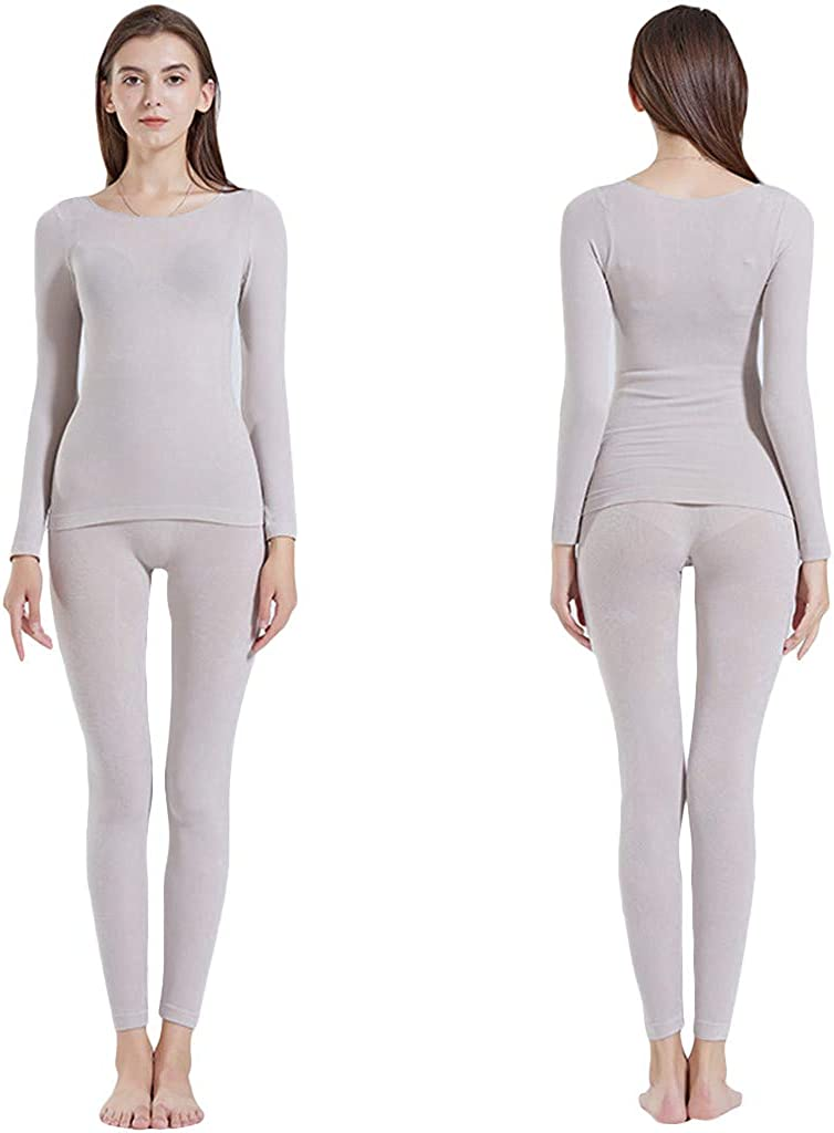Womens 2-Piece Pajama Long Thermal Underwear Seamless Elastic Thermal Suit Sleepwear Tops Pants