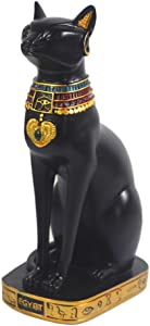 "9.5"" Ancient Egypt Kitty Egyptian Bastet Cat Goddess Statue Collectible Bastet Sculpture (9.5"" Tall)"