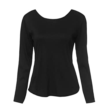 29c813d9cc Xinvision Womens Ladies Girls Sexy Lace Backless Back Deep V Loose Long  Sleeve Casual Blouses Tshirts