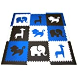 "SoftTiles Safari Animals Designer Kids Foam Play Mat w/sloped Edges (Blue, Black, White) Large 2' Floor Tiles 78"" x 78"" (6.5' x 6.5')"