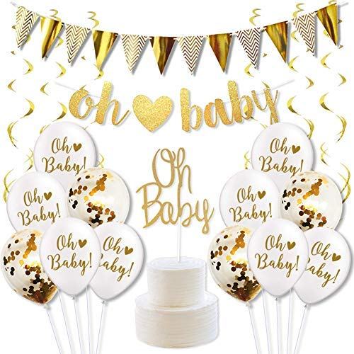 Oh Baby Decorations for Baby Shower Gender Neutral Decorations Gold -