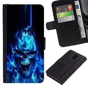 UNIQCASE - Samsung Galaxy Note 4 SM-N910 - Flaming Blue Goth Skull Skeleton - Cuero PU Delgado caso cubierta Shell Armor Funda Case Cover
