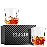 Storm Whiskey Glasses, Double Old Fashioned Rocks Glass – Set of 2 with Heavy Base, Lead-Free Crystal Clarity Fits Large Ice Cube – Barware Gift for Men – For Scotch Liquor, Irish Whisky, Bourbon Review