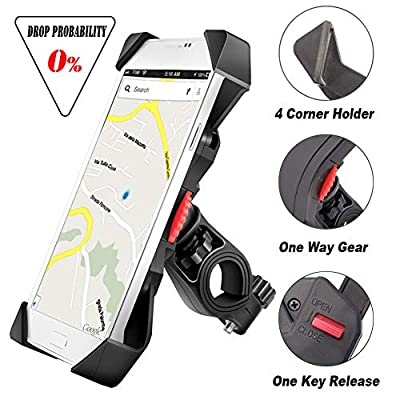 visnfa Bike Phone Mount Anti Shake and Stable Cradle Clamp with 360° Rotation Bicycle Phone Mount/Bike Phone Holder for iPhone Android GPS Other Devices Between 3.5 to 6.5 inches