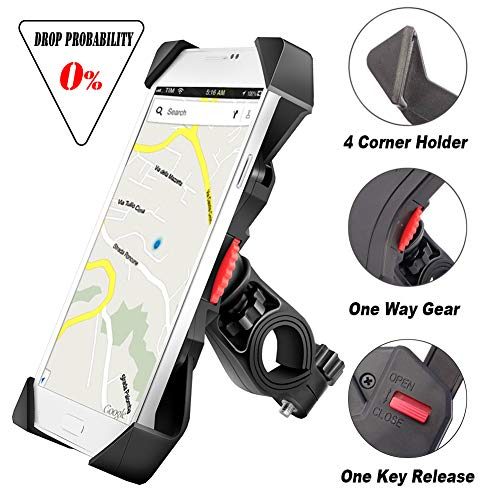 visnfa Bike Phone Mount Anti Shake and Stable Cradle Clamp with 360° Rotation Bicycle Phone Mount/Bike Accessories/Bike Phone Holder for iPhone Android GPS Other Devices Between 3.5 to 6.5 ()