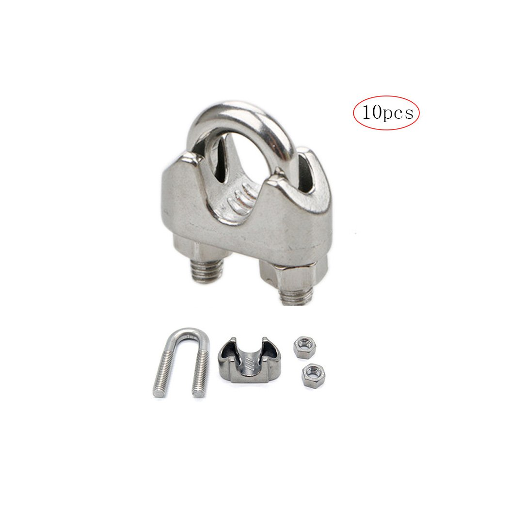 12pcs M3 Wire Rope Clips Clamps Slings 304 Stainless Steel Rigging M2//M3//M4//M5//M6//M8//M10//M12 Available-M3