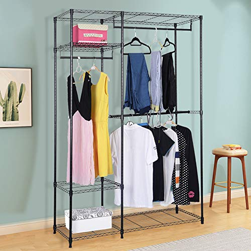 S AFSTAR Safstar Heavy Duty Clothing Garment Rack Wire Shelving Closet Clothes Stand Rack Double Rod Wardrobe Metal Storage Rack Freestanding Cloth Armoire Organizer (1 -