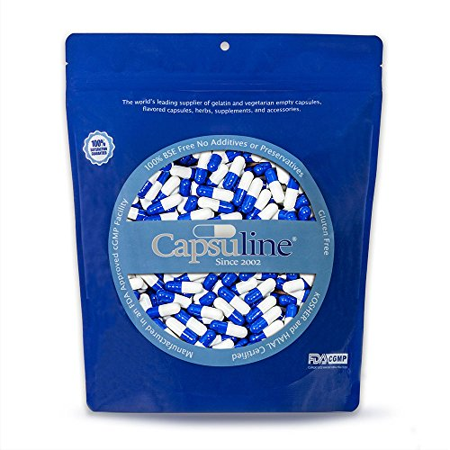 Colored Size 00 Empty Gelatin Capsules by Capsuline - Blue/White 1000 Count