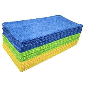 Polyte – Chiffons de Nettoyage en Microfibres – sans Bordure/découpe Ultrason – Bleu/Vert/Jaune (36x 36cm, 36 Chiffons)