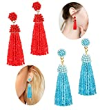 LOLIAS Beaded Tassel Dangle Earrings for Women Girls Bohemian Statement Fringe Drop Earring Red Green
