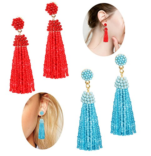 LOLIAS Beaded Tassel Dangle Earrings for Women Girls Bohemian Statement Fringe Drop Earring Red Green